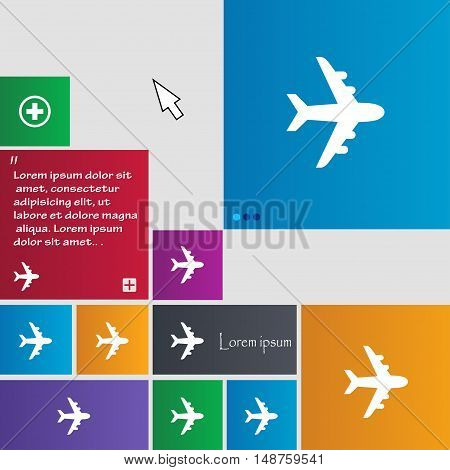 Plane Icon Sign. Buttons. Modern Interface Website Buttons With Cursor Pointer. Vector