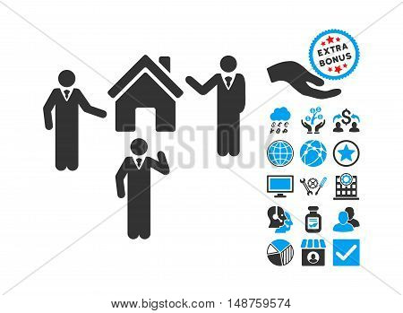Realty Discuss Persons icon with bonus images. Glyph illustration style is flat iconic bicolor symbols, blue and gray colors, white background.