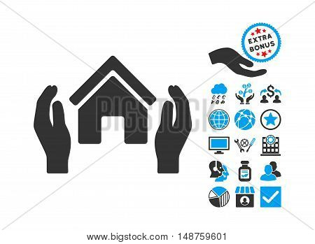 Realty Insurance Hands pictograph with bonus pictogram. Glyph illustration style is flat iconic bicolor symbols, blue and gray colors, white background.