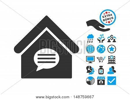 Realty Message pictograph with bonus symbols. Glyph illustration style is flat iconic bicolor symbols, blue and gray colors, white background.
