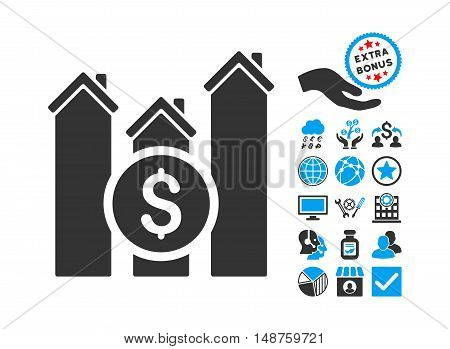 Realty Price Charts icon with bonus pictures. Glyph illustration style is flat iconic bicolor symbols, blue and gray colors, white background.