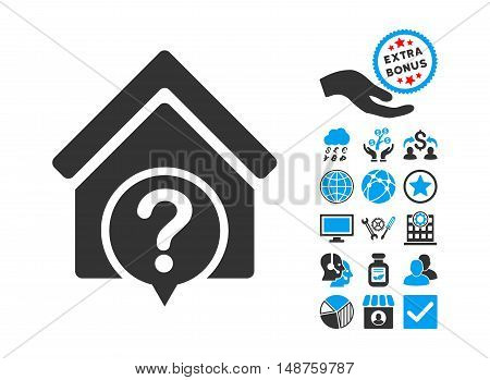 Realty State icon with bonus images. Glyph illustration style is flat iconic bicolor symbols, blue and gray colors, white background.