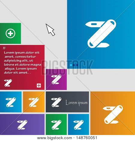 Pocket Knife Icon Sign. Buttons. Modern Interface Website Buttons With Cursor Pointer. Vector