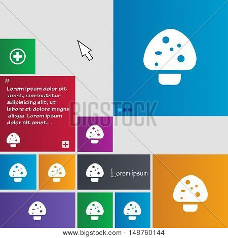 Mushroom Icon Sign. Buttons. Modern Interface Website Buttons With Cursor Pointer. Vector