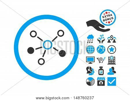 Relations pictograph with bonus pictogram. Glyph illustration style is flat iconic bicolor symbols, blue and gray colors, white background.