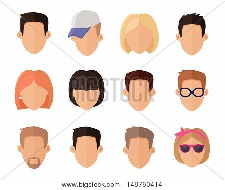 Set of private avatars of woman and man in flat design style. Social networks business private users avatar pictograms. Icon set. Flat design vector illustration