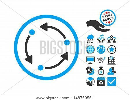 Rotate icon with bonus symbols. Glyph illustration style is flat iconic bicolor symbols, blue and gray colors, white background.
