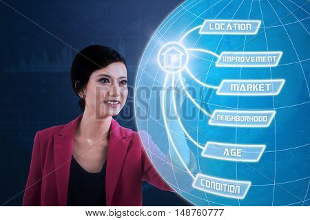Property value concept. Young Asian businesswoman touches a virtual screen with property value menu and globe