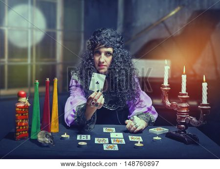 Sorceress telling fortunes