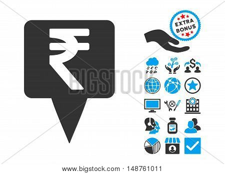 Rupee Map Pointer pictograph with bonus design elements. Glyph illustration style is flat iconic bicolor symbols, blue and gray colors, white background.