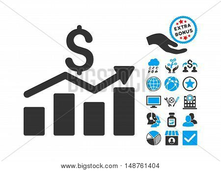 Sales Chart pictograph with bonus pictures. Glyph illustration style is flat iconic bicolor symbols, blue and gray colors, white background.