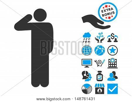 Salute Pose pictograph with bonus clip art. Glyph illustration style is flat iconic bicolor symbols, blue and gray colors, white background.