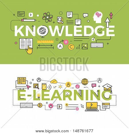 Knowledge and e-learning vector banners. Set of scientific, web and educational line icons and symbols. Concept illustration for learning courses, universities, educational services and programs ad.