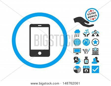 Smartphone pictograph with bonus clip art. Glyph illustration style is flat iconic bicolor symbols, blue and gray colors, white background.