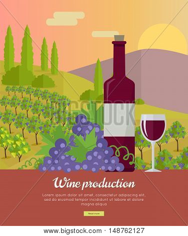 Wine production banner. Bottle of wine, beaker, vineyard, wooden barrel, with grape valley on background. Creative advertisement poster for red wine.