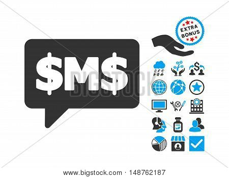 SMS Bubble icon with bonus symbols. Glyph illustration style is flat iconic bicolor symbols, blue and gray colors, white background.