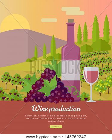 Wine production banner. Bottle of wine, beaker, vineyard, wooden barrel, with grape valley on background. Creative advertisement poster for rose wine.
