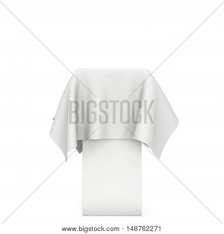 Presentation pedestal covered with white cloth. Place for award or prize cover by cloth. 3d render illustration isolated on white.