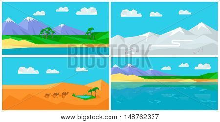 Set of natural landscapes with sea, mountains, sky, clouds, sandy beach, desert, glacier, snow.