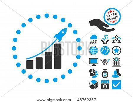 Startup Sales pictograph with bonus clip art. Glyph illustration style is flat iconic bicolor symbols, blue and gray colors, white background.