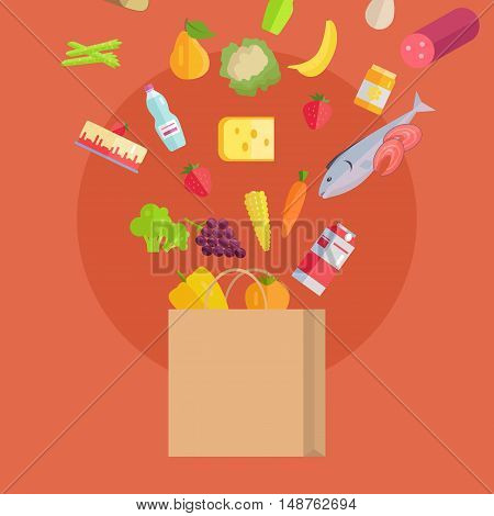 Grocery shopping vector concept. Various foods falling in paper bag illustration