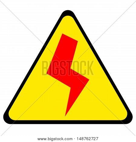 Danger sign with red lightening symbol isolated on white background