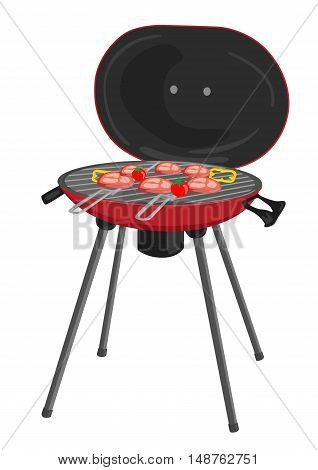 portable barbecue with meat, tomatos and peppers grilling over the coals over white background
