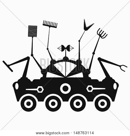 black lunar rover symbol vector illustration abstract high quality