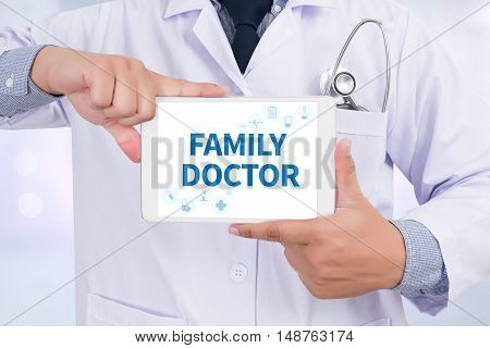 FAMILY DOCTOR Doctor holding digital tablet doctor work hard