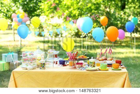 Birthday table in yard