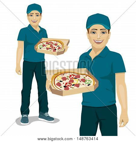 Pizza delivery courier in blue uniform offering the pizza in box