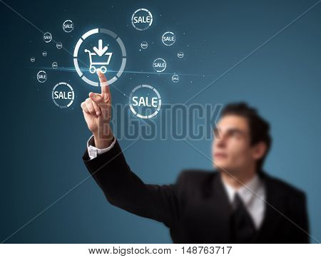 Businessman pressing promotion and shipping type of modern buttons