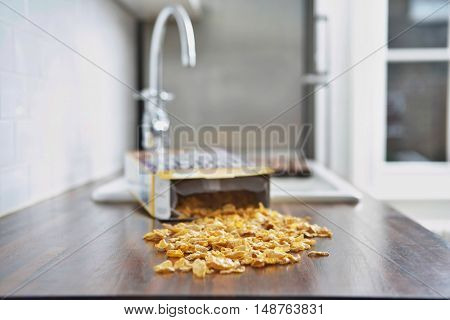 Spilled Cereal on kitchen counter