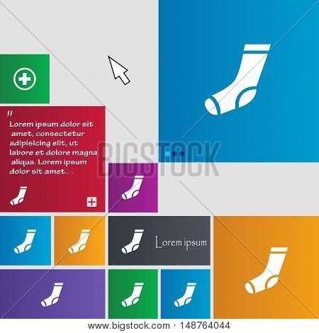 Socks Icon Sign. Buttons. Modern Interface Website Buttons With Cursor Pointer. Vector