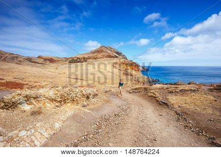 Cliffs at Ponta de Sao Lourenco. Cape is the most eastern point of Madeira island