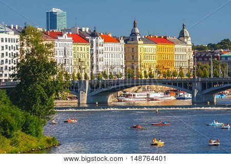 Prague, Czech Republic, September 20, 2011: People Sail In Small Boats On The Vltava River, Prague