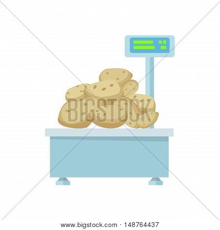 Tray with potatoes on store scales vector. Flat design. Vegetables in supermarket illustration