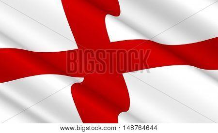 Waving flag of England. 3D illustration.