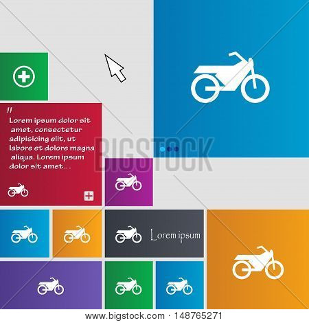 Motorbike Icon Sign. Buttons. Modern Interface Website Buttons With Cursor Pointer. Vector