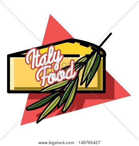 Hand drawn illustration of italianfood emblem. Vector food logo design template. Concept for, restaurant menu, cafe, fast food, pizzeria.