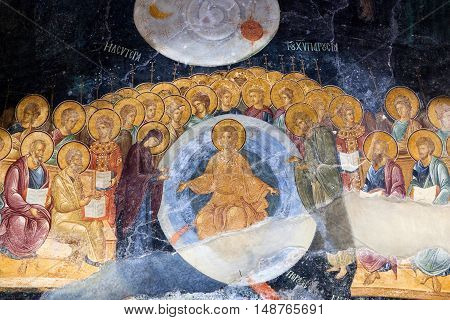 ISTANBUL, TURKEY - OCTOBER 31, 2015: Ancient painted fresco