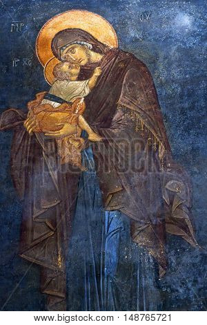 ISTANBUL, TURKEY - OCTOBER 31, 2015: The Eleusa - Blessed Mary and Child - ancient painted fresco of the Church of the Holy Saviour in Chora (Kariye Camii).