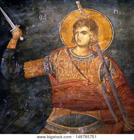 ISTANBUL TURKEY - OCTOBER 31, 2015: Ancient painted fresco of the Church of the Holy Saviour in Chora (Kariye Camii).