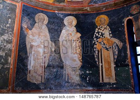 Bishop Figures Close Up On The Apse Wall In The Kariye Church In Istanbul,turkey