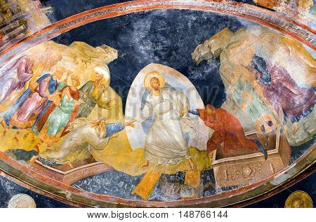 ISTANBUL, TURKEY - OCTOBER 31, 2015: The Anastasis fresco in the parecclesion of the Church of the Holy Saviour in Chora (Kariye Camii).