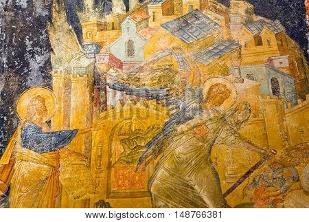 Ancient Painted Fresco In The Church Of The Holy Saviour In Chora (kariye) In Istanbul,turkey