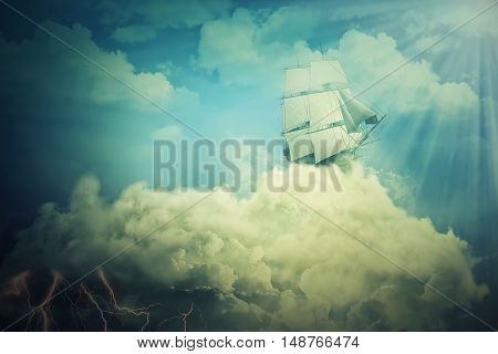 Surreal screensaver with an old ship sailing in the clouds