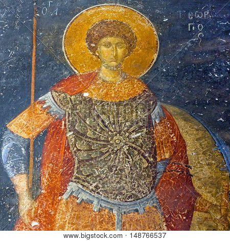 ISTANBUL, TURKEY - OCTOBER 31, 2015: Saint George - ancient painted fresco in the Church of the Holy Saviour in Chora (Kariye Camii).