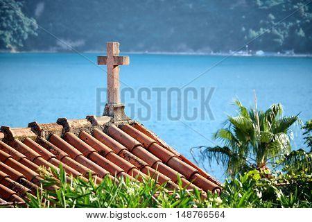 Herceg Novi, Cross Church On The Sea Of Kotor Bay, Montenegro