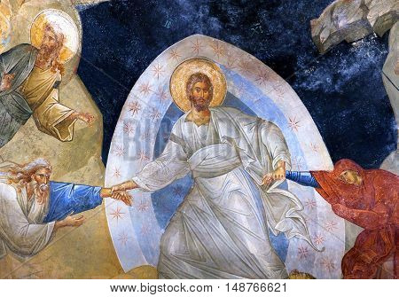 ISTANBUL, TURKEY - OCTOBER 31, 2015: The Anastasis fresco in the Church of the Holy Saviour in Chora (Kariye Camii).